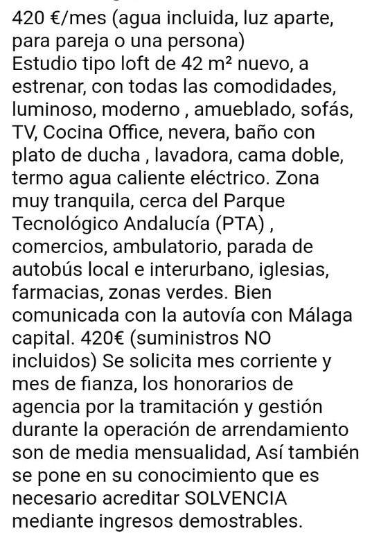 Se alquila a estrenar Loft en Maqueda, Campanillas (Maqueda, Málaga)