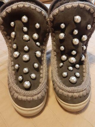 botas Mou gris con perlas, original 100%