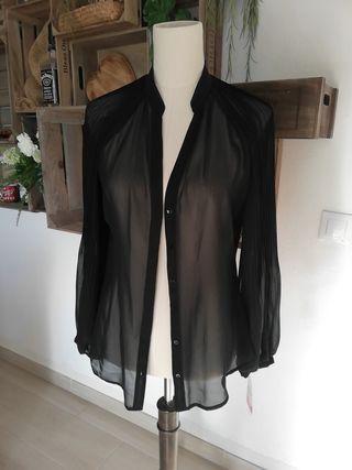 blusa negro Zara manga larga transparente