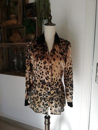 Blusa mujer animal estampado leopardo marrón negro