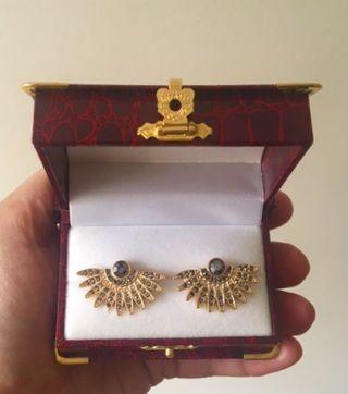 Pendientes en abanico, plata chapado oro y circoni