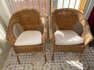 Sillones de ratan/bambú AGEN de Ikea