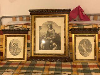 cuadros de litografías con marcos de madera