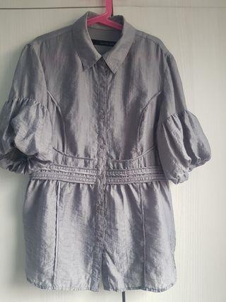 Blusa gris manga tres cuartos Calvin Klein