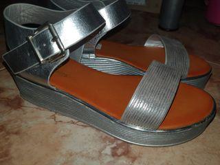 sandalias plateadas talla 39