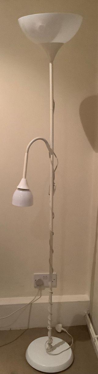 Floor up lighter/reading lamp, white