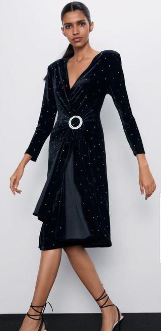 vestido terciopelo brillos ZARA