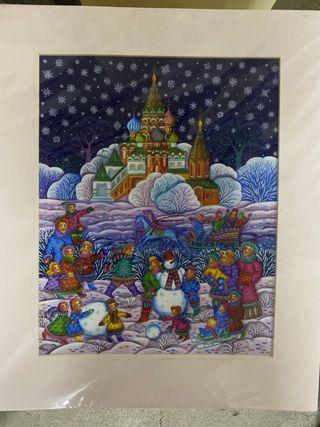 Russian Christmas Painting, Original