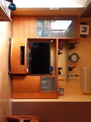 mueble comedor: vitrina, mueble TV, botellero