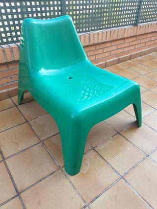 sillón ikea plástico verde