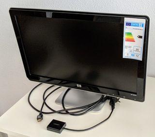 Monitor HP 2009v. Adaptador VGA-HDMI.