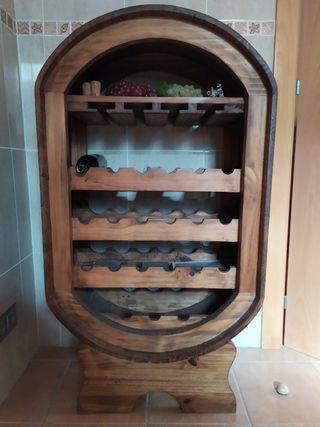 Mueble botellero antiguo de madera