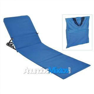 Esterilla silla plegable de playa PVC azul