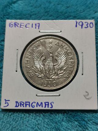 Grecia 5 Dragmas de 1930