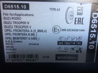Discos de freno traseros D651510 Woking