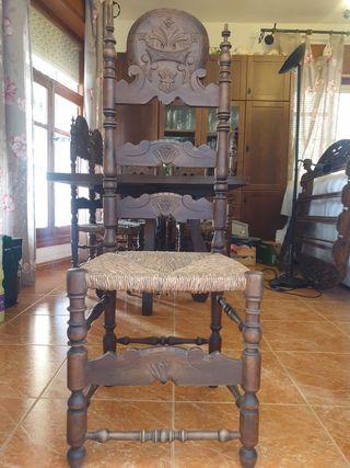 mesa 2 x 1 metro y 6 sillas estilo Luis XV