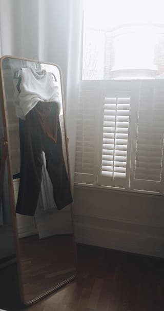 Brown caramel dress pants and Sleeveless White top