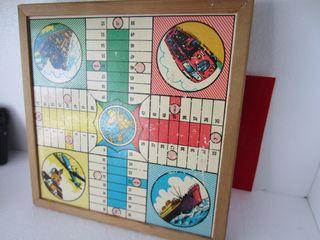 Antiguo Juego parchis y oca de 4 jugadores