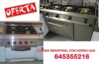 Cocina industrial 3 o 4 fuegos con horno
