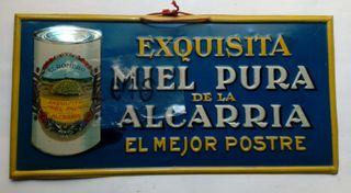 CHAPA CARTEL PUBLICIDAD MIEL DE LA ALCARRIA