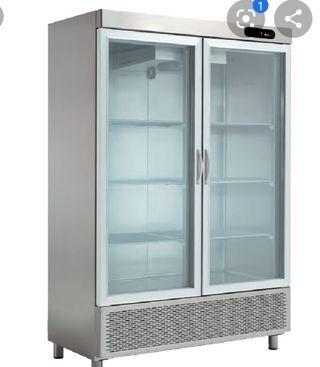 frigorífico vertical doble puerta cristal