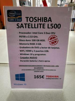 Portátil Toshiba Satellite L500/ Disco duro 500 GB