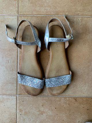 sandalias plata