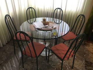 Conjunto de mesa de cristal y 6 sillas