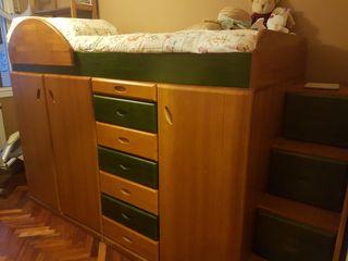Mueble cama habitación niños madera