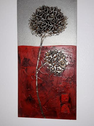 cuadro plata con rojo 15 euros