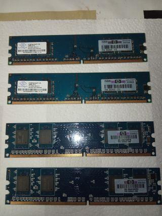 Memorias ram DDR2 256Mb 4 unidades