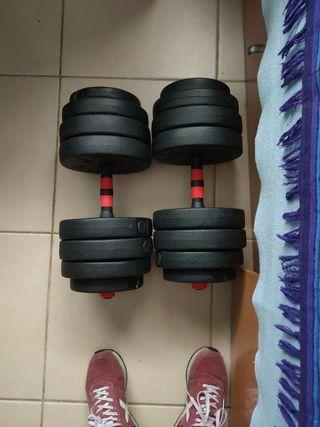 Kit mancuernas + barra extensora 40kg