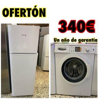 Pack económico nevera + lavadora 8kg con garantía