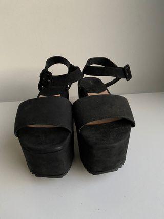 Sandalias Mango Plataforma Negras