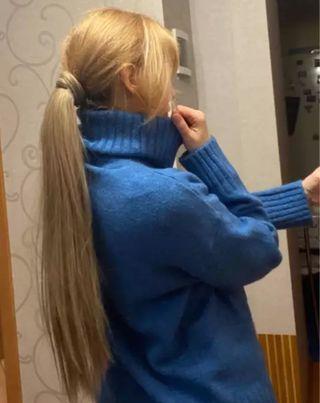 Extensión de pelo rubio