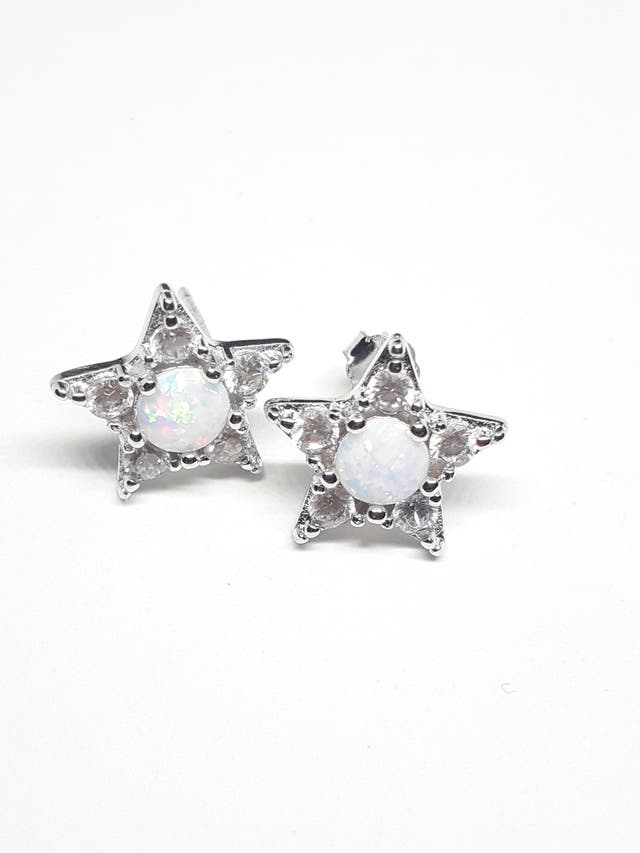 925S.S White Opal Earrings for Women Star