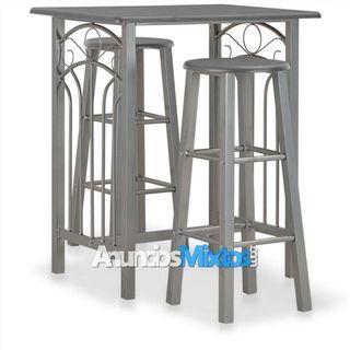 Set mesa y sillas altas de cocina 3 pzas madera ac