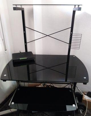 Mesa ordenador cristal templado