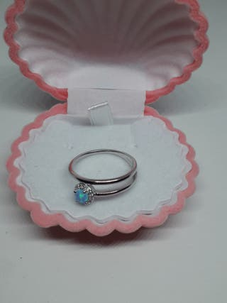 925S.S Double Layered Ring With Round Blue