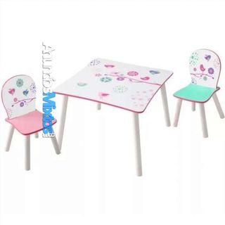 Juego de mesa y sillas para niños de pájaros