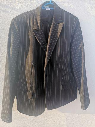 Traje chaqueta de rayas negro t48