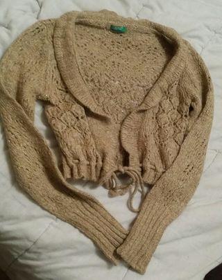 Chaqueta lana dorada de Benetton