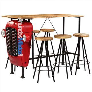 Set de muebles de bar madera maciza mango 7 pzas 1