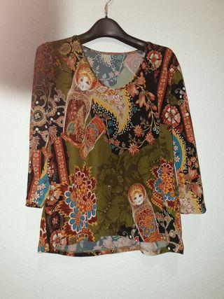 #camiseta#blusa#G#estampada#flores#medallones#nina