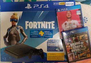 PS4 500g + FIFA 20 + GTA V