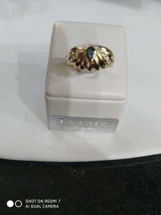 Sortija de oro 18k, zafiro y circonitas