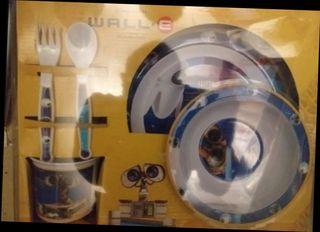 kit platos y vasos wallie y 6 platos de superman