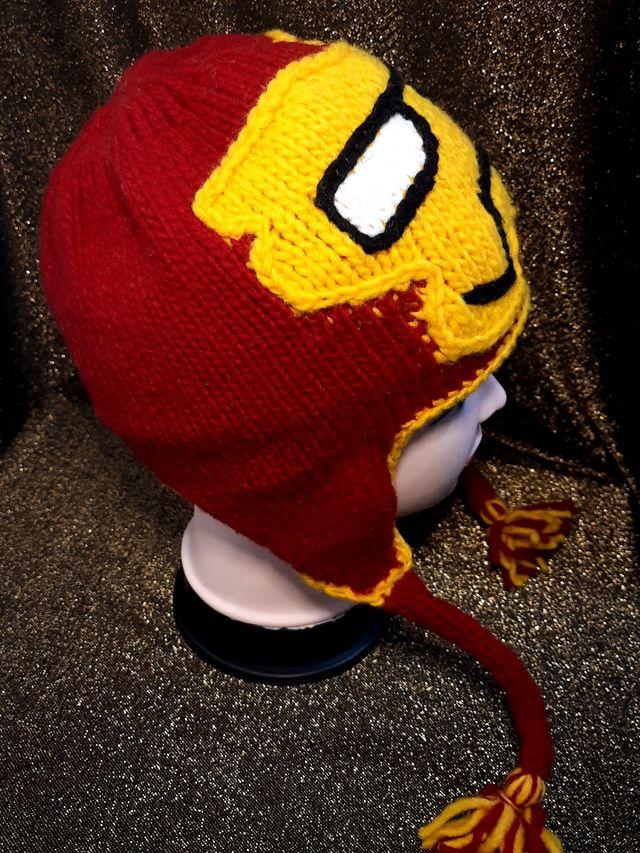 kids hat Iron man handmade of wool new one size.