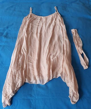 Vestido amplio rosa palo de seda