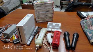 nintendo wii con accesorios + 4 juegos